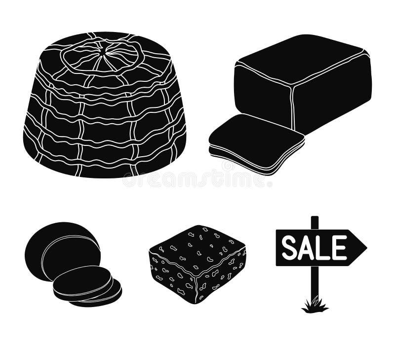 Mozzarella feta, cheddar, ricotta Olika typer av symboler för ostuppsättningsamling i svart materiel för stilvektorsymbol stock illustrationer