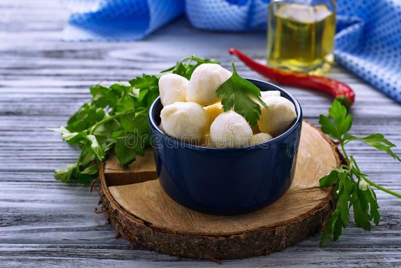 Mozzarella italien de fromage dans la cuvette bleue images libres de droits