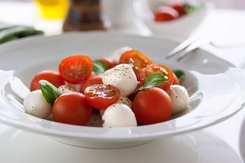 Mozzarella med tomater, italienska örter och salladsidor fotografering för bildbyråer