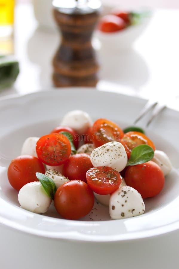 Mozzarella med tomater, italienska örter och salladsidor på en vit platta på en tabell royaltyfri fotografi