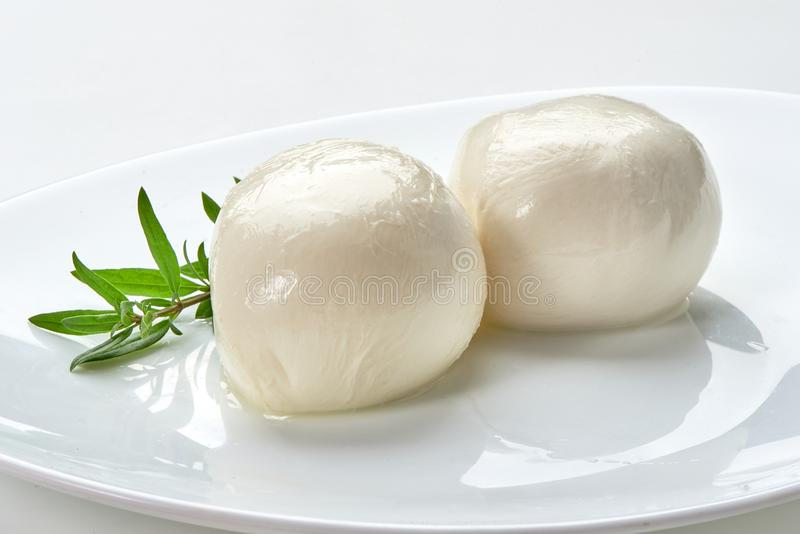 Mozzarella na placa, close-up fotos de stock royalty free