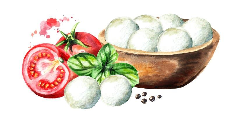 Mozzarella nella ciotola, basilico, pomodori Illustrazione disegnata a mano dell'acquerello, isolata su fondo bianco illustrazione di stock