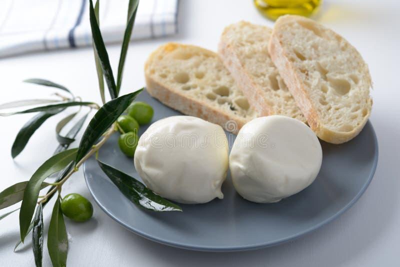 Mozzarella and olives royalty free stock photos