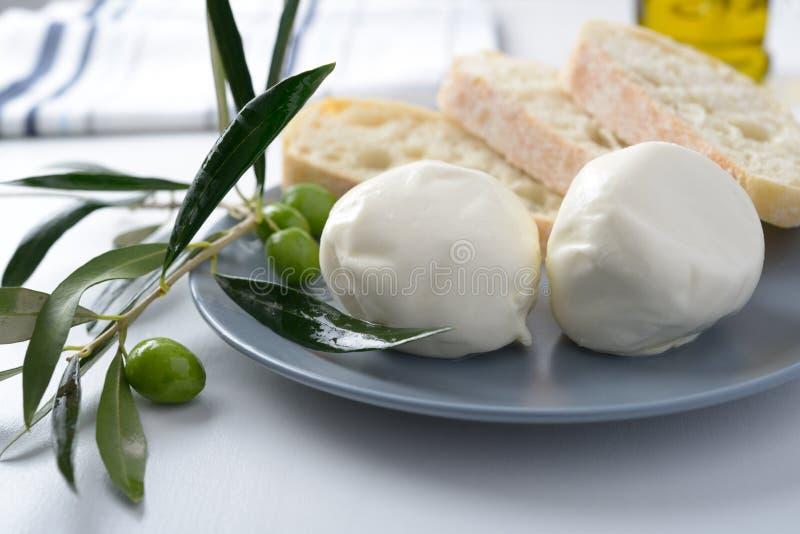 Mozzarella and olives royalty free stock photography