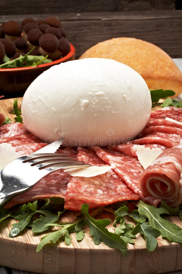 mozzarella pepperoni fotografia royalty free