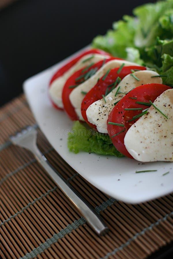 Mozzarella salad. Zen mozzarella tomato salad italian royalty free stock photo