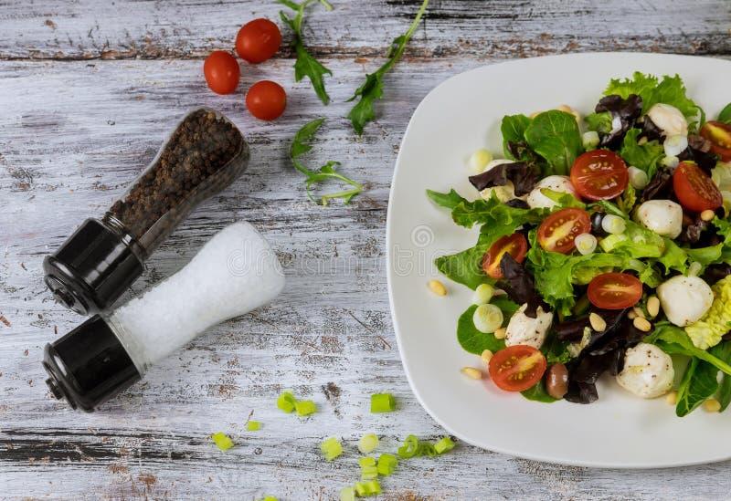Mozzarella sensible et frais coupé avec la tomate-cerise et herbes Petit d?jeuner frais de r?gime images libres de droits