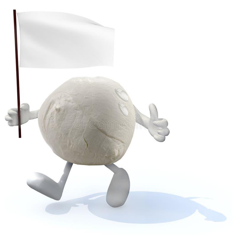 Mozzarella ser z rękami, nogami i białą flaga na ręce, ilustracja wektor