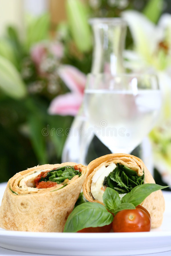 Mozzarella and spinach tortilla royalty free stock image