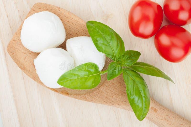 Mozzarella, Tomaten und Basilikum lizenzfreie stockbilder