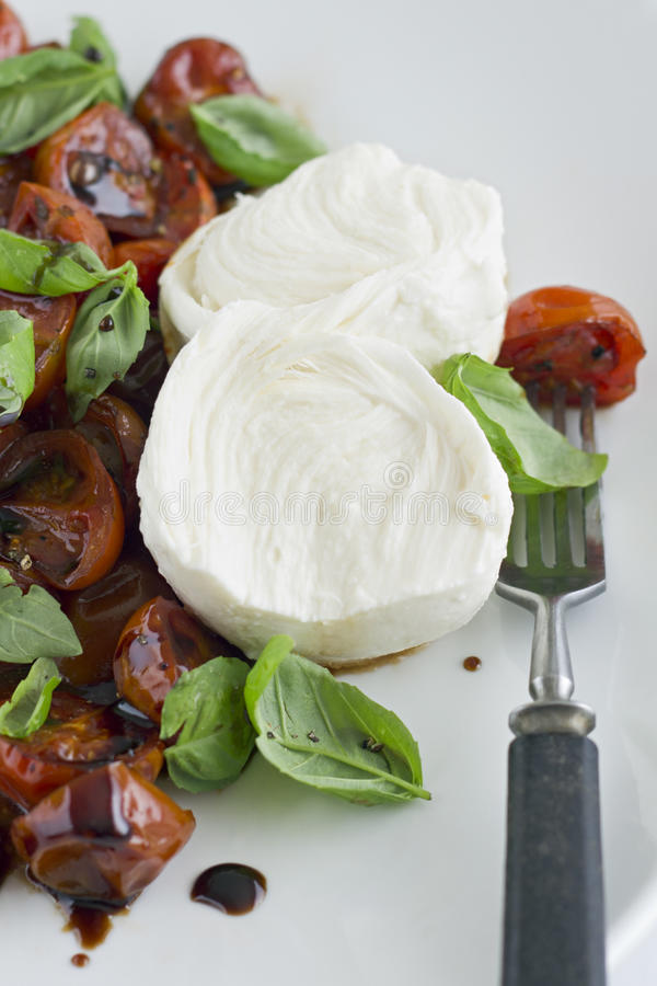 Mozzarella and Tomato Salad. With Basil and Balsamic Vinegar royalty free stock photography