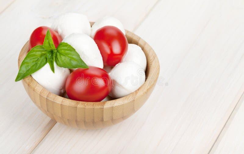 Mozzarellaost med körsbärsröda tomater och basilika arkivfoto