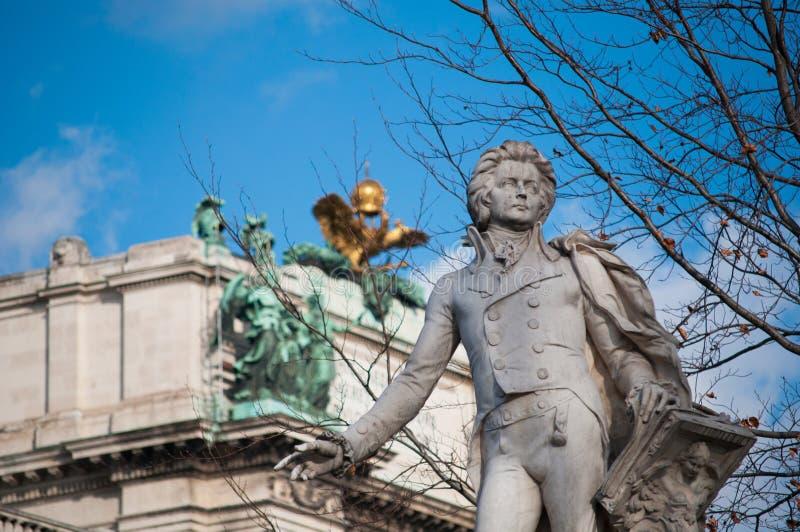 Mozzart雕象在维也纳,奥地利 库存图片