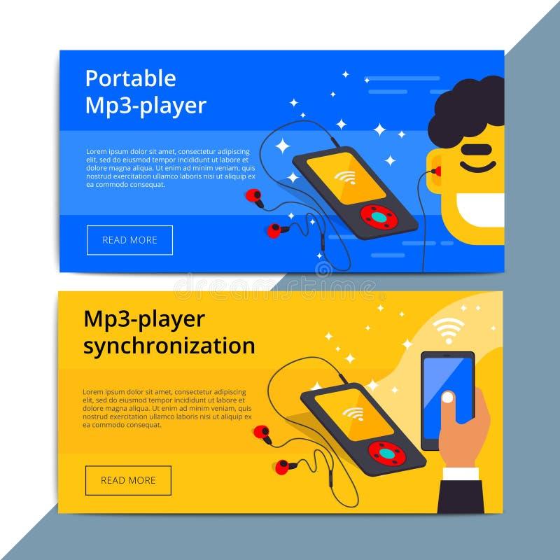 Mp3 αγγελία εμβλημάτων Ιστού promo φορέων Φορητός έξυπνος ακουστικός εξοπλισμός π απεικόνιση αποθεμάτων