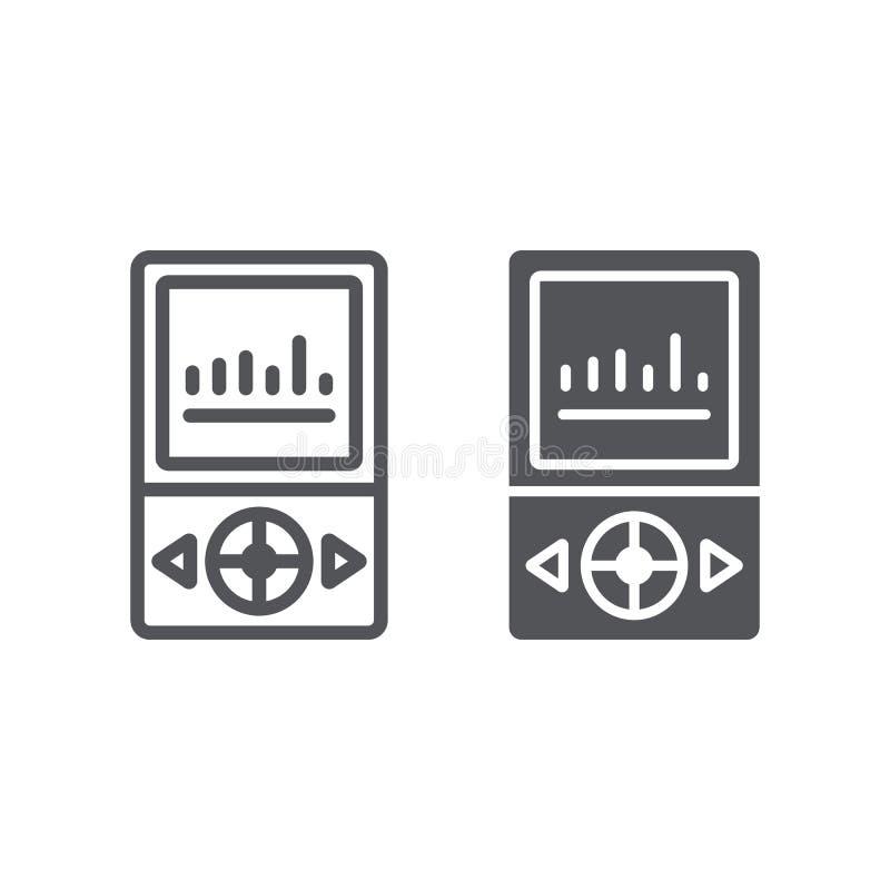 MP3 γραμμή και glyph εικονίδιο φορέων, μουσικός και υγιής, σημάδι συσκευών μουσικής, διανυσματική γραφική παράσταση, ένα γραμμικό ελεύθερη απεικόνιση δικαιώματος