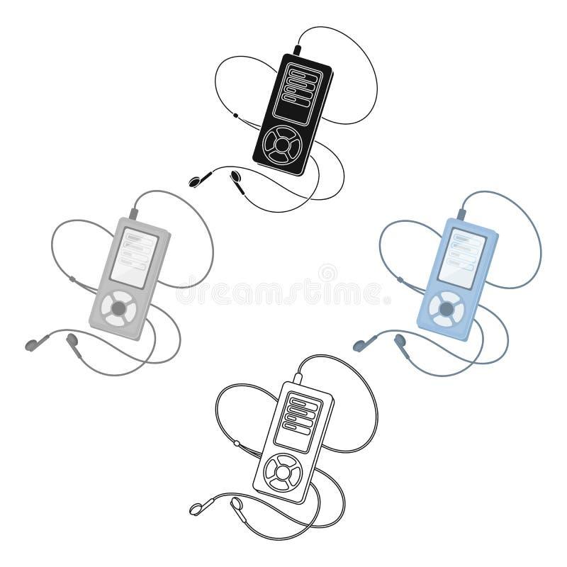Mp3 плеер для слушать музыку во время разминки Значок спортзала и разминки одиночный в мультфильме, черном символе вектора стиля иллюстрация штока