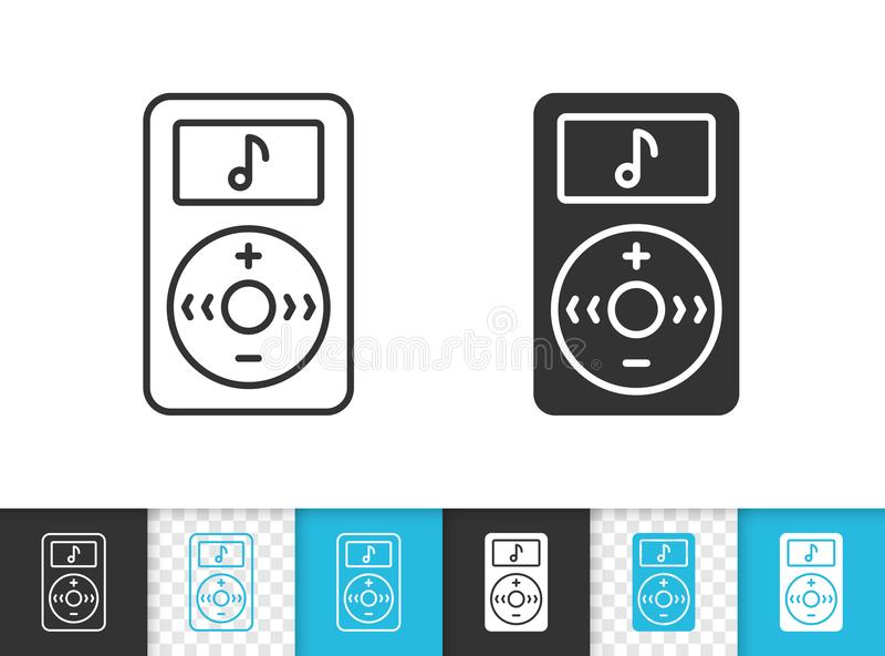 MP3播放器简单的黑线传染媒介象 库存例证
