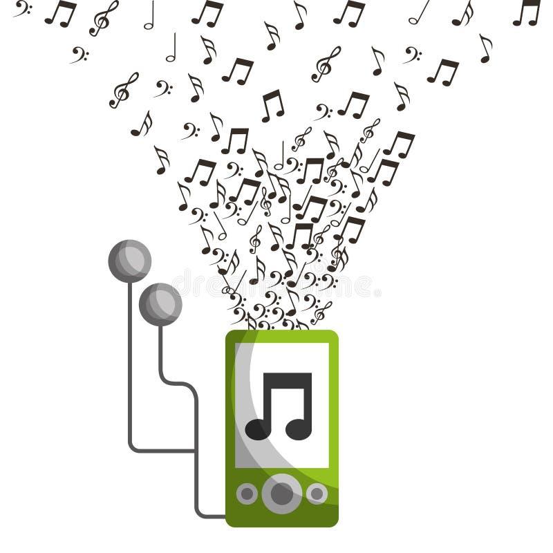 Mp3 de oortelefoonsapparaat van de muzieknota vector illustratie