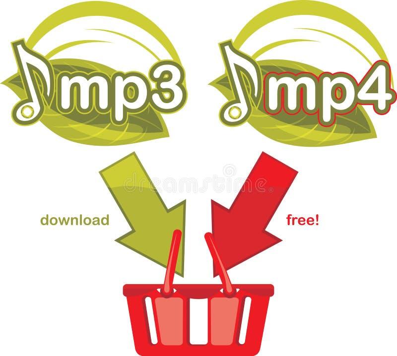 Mp3 en mp4 vrije download. Pictogram voor ontwerp stock illustratie