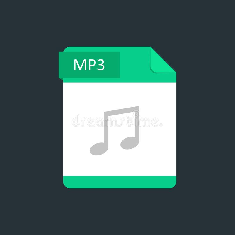 MP3 file type icon. Vector illustration isolated on a dark blue background.  royalty free illustration