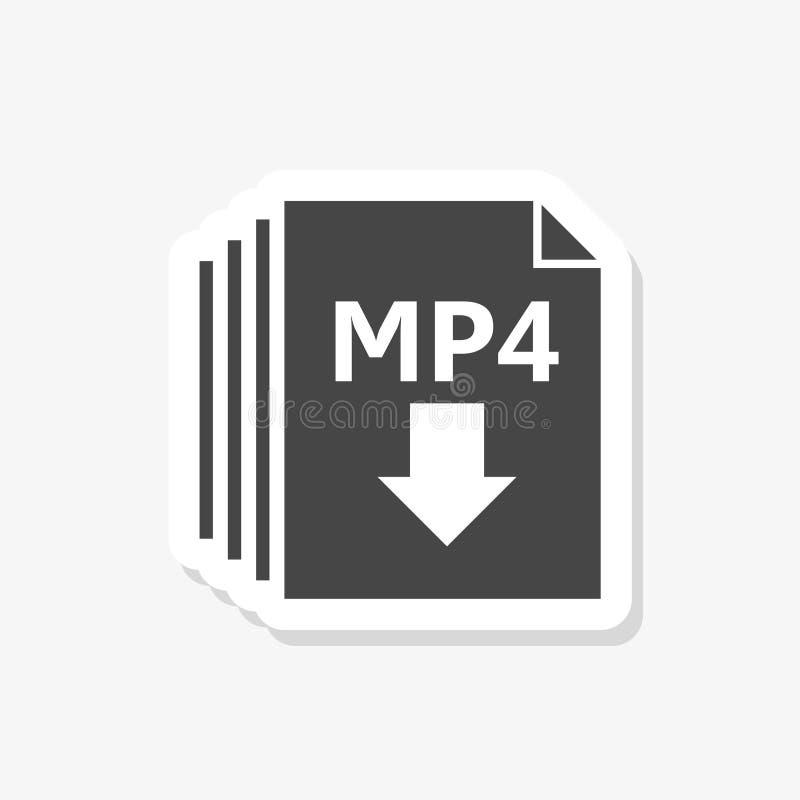 MP4 formata dokumentu majcheru ikona, wypełniający mieszkanie znak ilustracja wektor