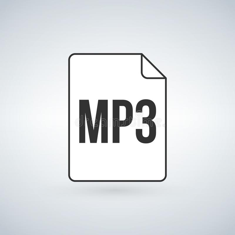 MP3 icon, labeled MP3 music audio format file type icon, Vector illustration isolated on white background. MP3 icon, labeled MP3 music audio format file type stock illustration
