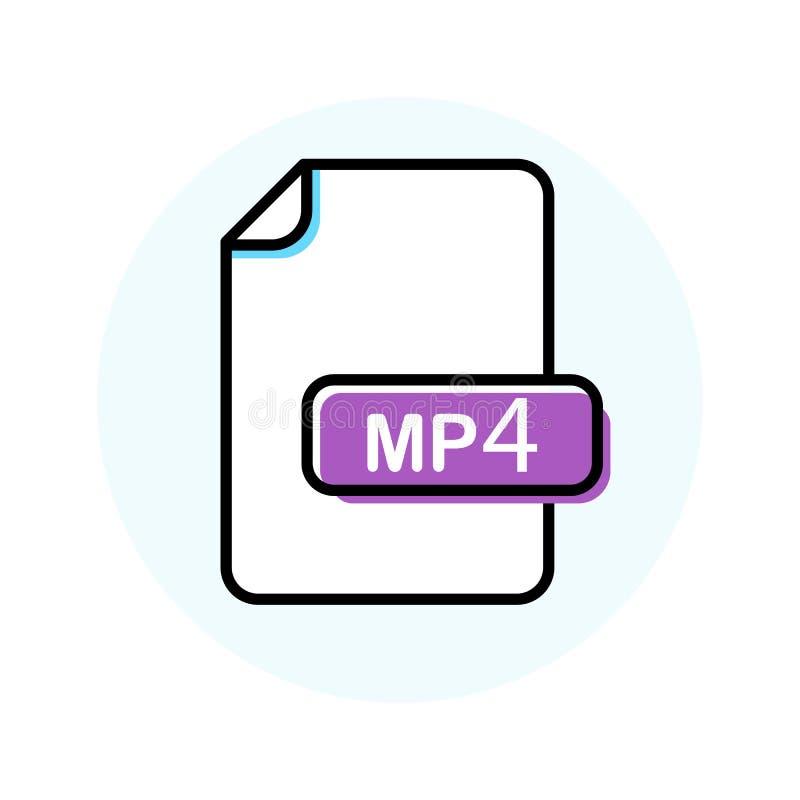 MP4 kartoteki format, rozszerzenie koloru linii ikona ilustracja wektor