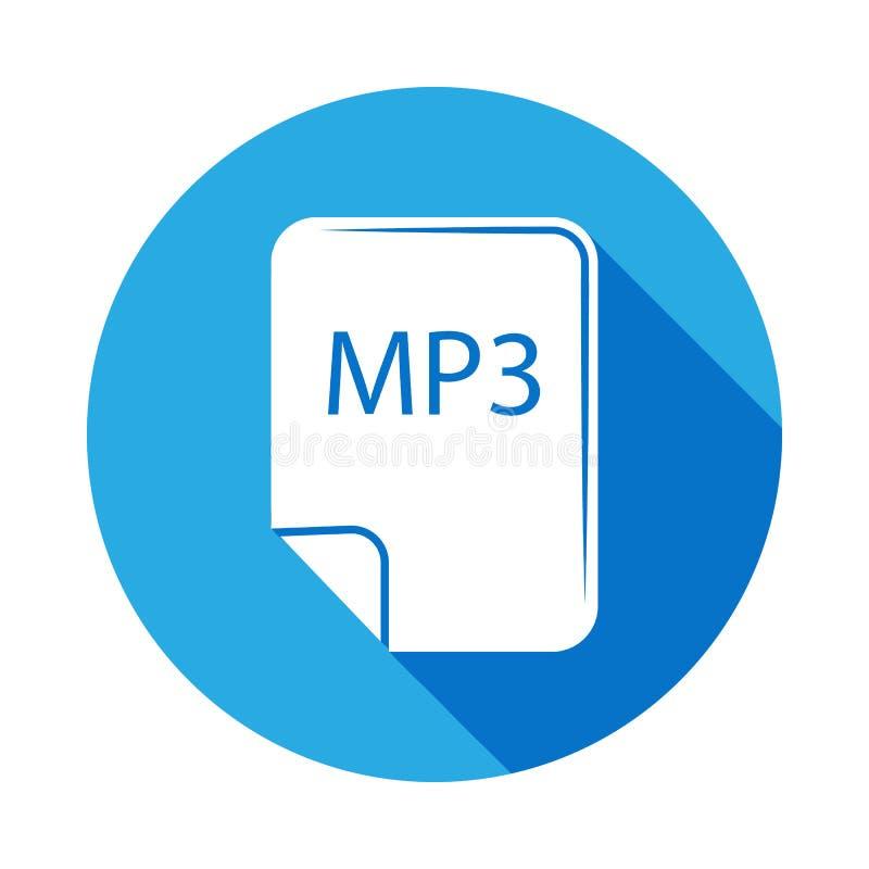 mp3 kartoteki ikona z długim cieniem Element muzyczna ilustracja Premii ilości graficznego projekta znak Znaki i symbole mogą uży ilustracja wektor