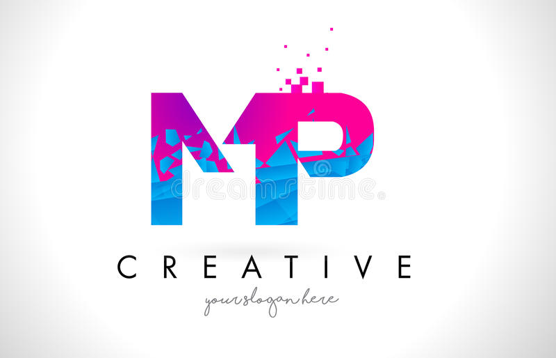 MP M P Letter Logo met Verbrijzelde Gebroken Blauwe Roze Textuur Desig royalty-vrije illustratie