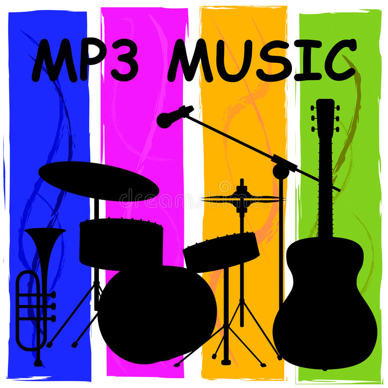 Mp3 Muziek die Melody Listening And Sound Track tonen royalty-vrije illustratie