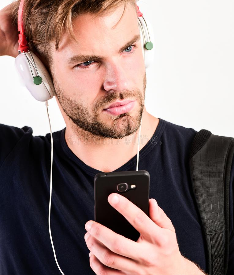Mp3 player concept. Music application concept. Enjoy perfect music sound headphones. Music gadget. Musical accessory stock photo
