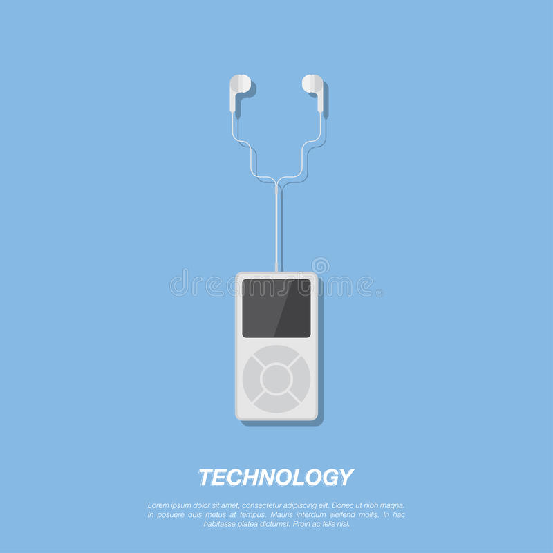 Mp3 player and headphones on blue background. royalty free illustration