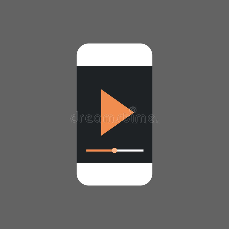 Mp3 Player Interface On Cell Smart Phone Icon Audio Listening Gadget stock illustration