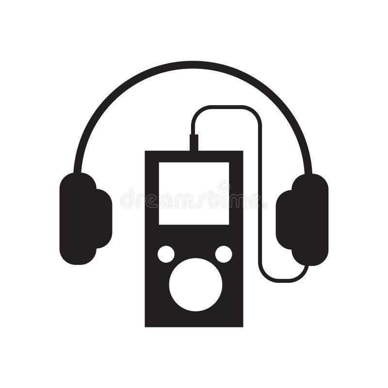 MP3-Player mit dem Kopfhörerikonenvektorzeichen und -symbol lokalisiert lizenzfreie abbildung