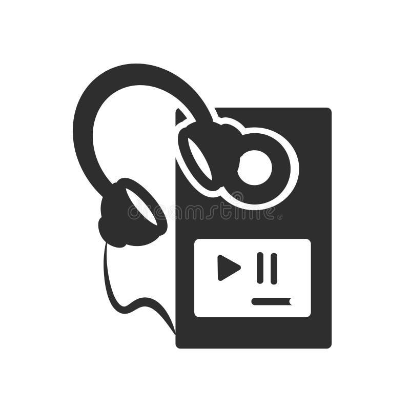 MP3-Player mit dem Kopfhörerikonenvektorzeichen und -symbol lokalisiert auf weißem Hintergrund, MP3-Player mit Kopfhörerlogokonze vektor abbildung