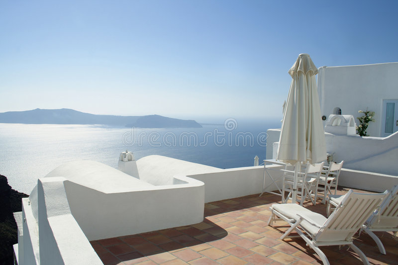 Beautiful scene at the Santorini island, Greece stock photography