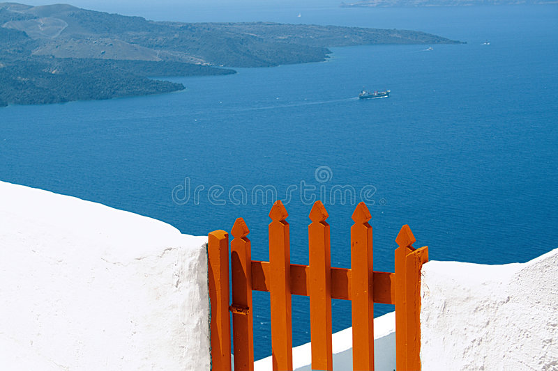 Wooden door at Santorini island, Greece. Picturesque wooden door at Santorini Island, Cyclades - Greece royalty free stock photography