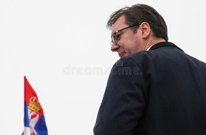 MP of Serbia Aleksandar Vucic. INDJIJA, Serbia - JANUARY, 24, 2017: Prime minister of Republic of Serbia, Aleksandar Vucic on cloudy day in Indjija, Vojvodina royalty free stock photo