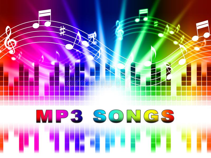 Mp3 toont de Liederen Melody Listening And Sound Tracks vector illustratie