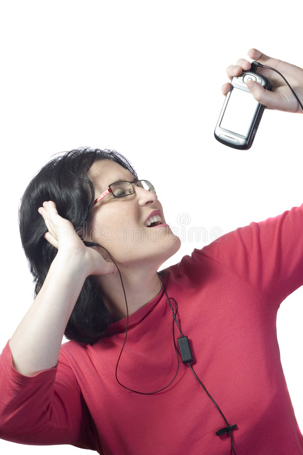 mp3 γυναίκα τεχνολογίας μ&omicr στοκ φωτογραφία