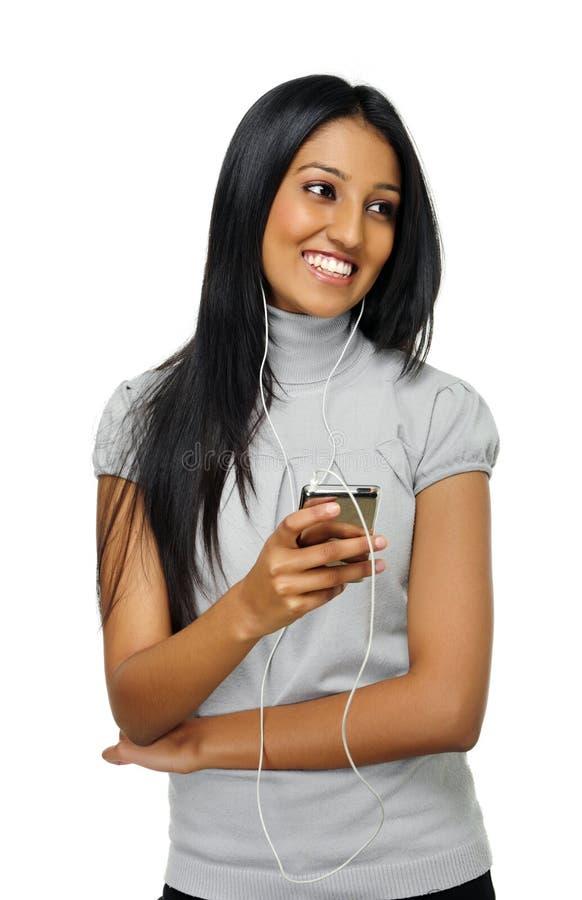 MP3 κορίτσι φορέων στοκ φωτογραφία