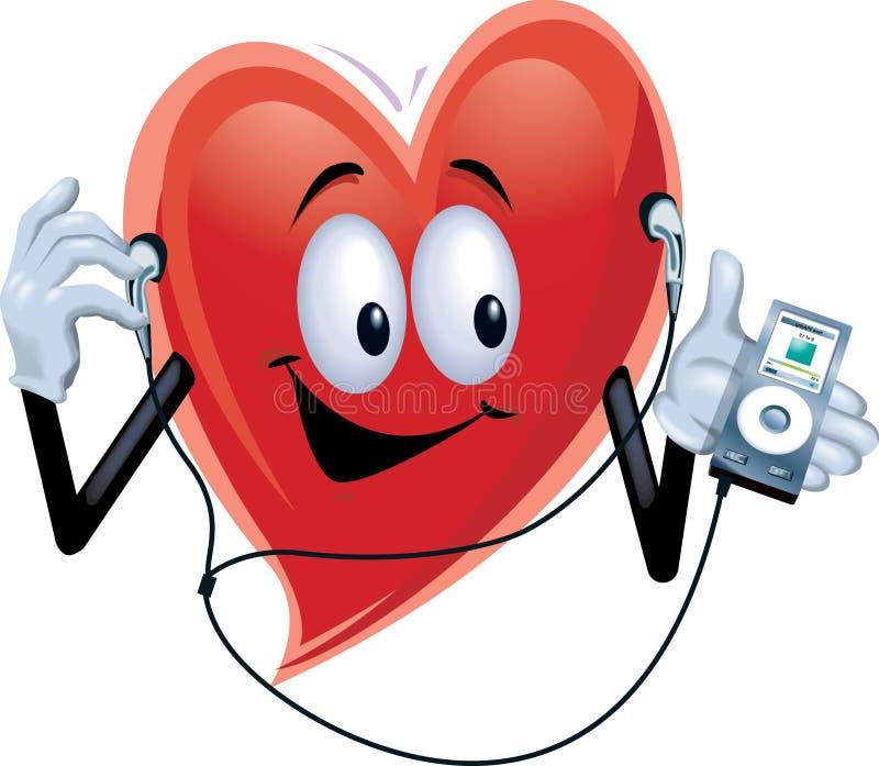 mp3 плэйер человека сердца стоковая фотография