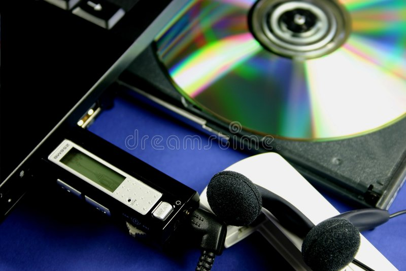 MP3 downloading stock images