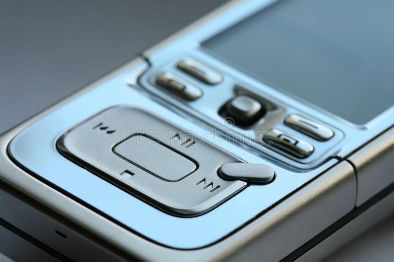 Mp3 media player and phone. Portable mp3 media player and phone stock photography