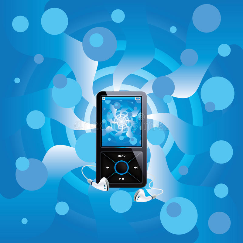 Mp3 player with background stock illustration
