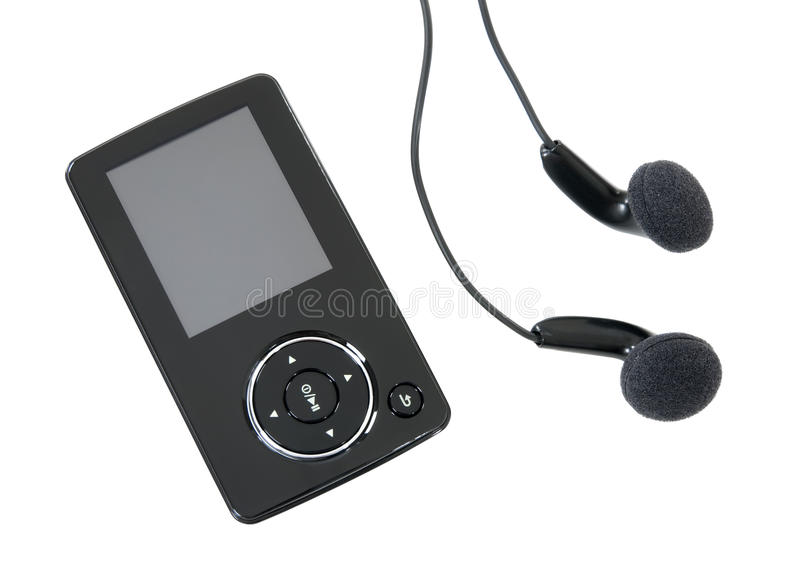 MP3 player and earphones stock photos