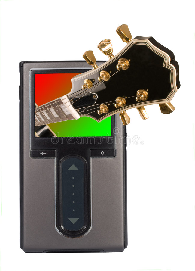 MP3 Player with guitar stock photography