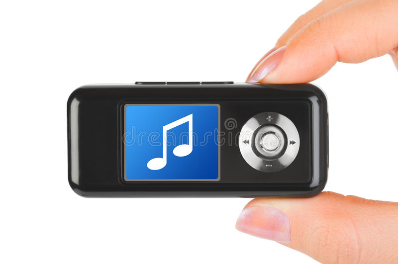Mp3 player in hand. Isolated on white background stock photos