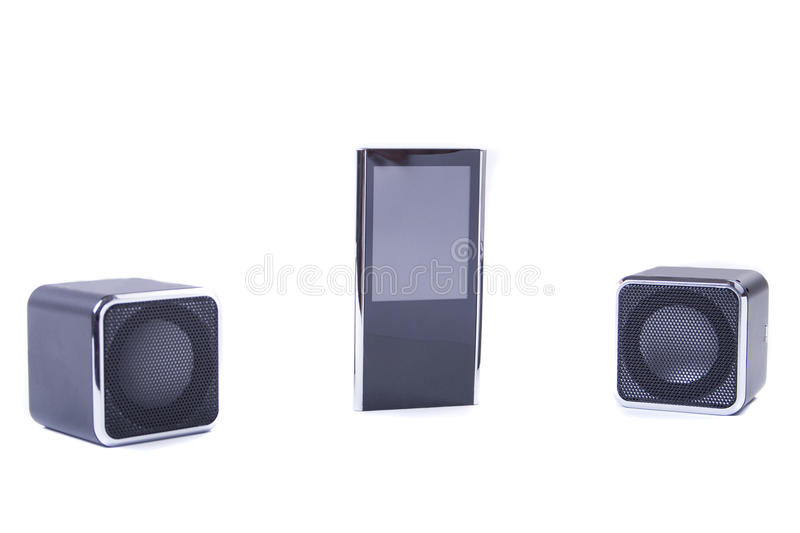 Mp3 set. Audio set from mp3 player in the middle and two speakers on a sides stock images