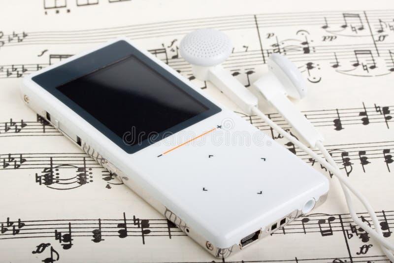 MP3 speler en nota royalty-vrije stock foto's